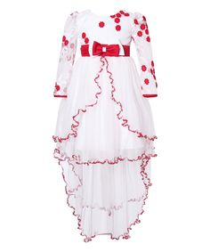 White & Red Floral Hi-Low Overlay Dress - Girls
