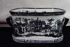Antique Black Transferware Footbath