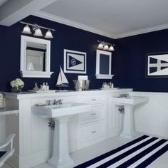 Navy and white bathroom ideas innovative navy blue bathroom decor ideas about navy bathroom on navy Nautical Interior, Nautical Bathroom Decor, Modern Bathroom Decor, Nautical Home, Bathroom Interior, Bathroom Ideas, Bathroom Designs, Nautical Style, Anchor Bathroom