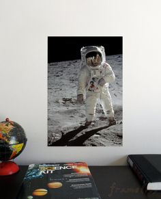 Man on the Moon x Poster - Science Astronomy Wall Art Print- Window on the Universe series - kids room, classroom, playroom decor Man On The Moon, Playroom Decor, Astronomy Posters, Wall Art Prints, Kids Room, Science, Handmade Gifts, Eagle, Vintage