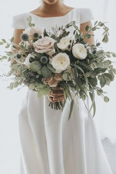 Stunning blush greenery wedding bouquets with thistles. diy bouquet 35 Trending Floral Greenery Wedding Ideas for 2019 Sage Wedding, Floral Wedding, Wedding Colors, Wedding Day, Burgundy Wedding, Summer Wedding, Thistle Wedding, Wedding Table, Botanical Wedding Theme