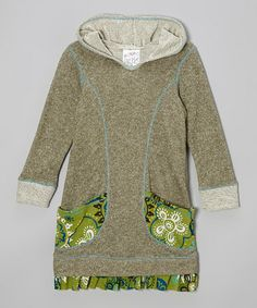 Take a look at this Olive Floral Pocket Hoodie Dress - Toddler & Girls by Freckles + Kitty on #zulily today!