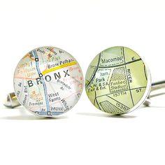 DLK Designs, LLC - New York Yankee Stadium Vintage Street Map Sterling Silver Round Cuffl