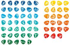 Rio 2016 Olympic and Paralympic sports icons. There are 64 pictograms in total: 41 Olympic and 23 Paralympic. Design Web, Icon Design, Logo Design, Brand Design, Identity Design, Olympic Icons, Olympic Games, Olympic Mascots, Rio Olympics 2016