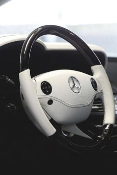 Mercedes steering wheel black white interior leather multifunction simple