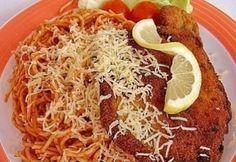 Milánói sertésborda recept -  magyar találmány :) Hungarian Recipes, Grains, Spaghetti, Food And Drink, Mexican, Beef, Ethnic Recipes, Meat, Seeds