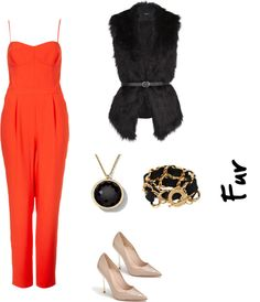 Mono naranja con chaleco de pelo  Inspiraciones naranjas para Halloween.   Todos los looks en:   http://www.naileechic.com/moda/halloween-night-fever-looks-naranja/
