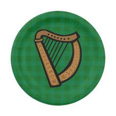 #Irish Celtic Harp #Saint Patrick's Day #Paper Party Plates