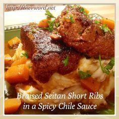 Braised Seitan Short Ribs in Spicy Chile Sauce