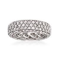 """""""4.00 ct. t.w. Pave Diamond Eternity Band in 14kt White Gold. Size 9"""": """"Our sparkling ring symbolizes the light of… #Jewelry #Watches"""