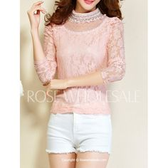 Lace Embroidery Beading Fashionable Stand Collar Long Sleeve Women's T-Shirt