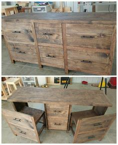 Homework station for the kids? Upcycle an old dresser/ attach drawer fronts to existing chairs