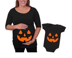Halloween Maternity Shirt and baby set jack o lantern, pumpkin, mom and baby set