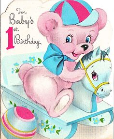 Vintage Birthday Card ~ For Baby's Birthday First Birthday Cards, Vintage Birthday Cards, Baby First Birthday, Vintage Greeting Cards, Birthday Greeting Cards, Birthday Greetings, Happy Birthday, Baby Friends, Baby Illustration