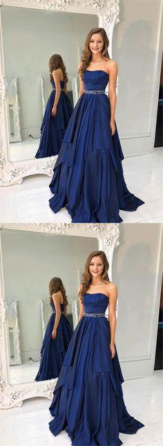 strapless navy blue long prom dresses/evening dresses #prom #promdress #promdresses #eveningdress #eveningdresses