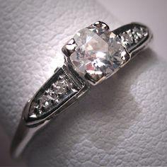 antique diamond wedding ring in platinum, circa 1930's. LOVE!