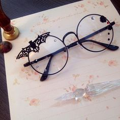 [Hand made] black dark gothic lolita glasses Gaosi Department gothic glasses fitted with gay
