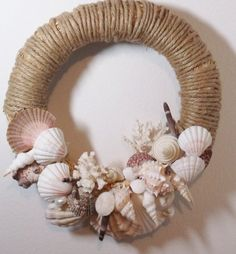 Large wreath, rope over straw with assorted seashells, year-round coastal nautical beach décor Seashell Wreath, Seashell Art, Seashell Crafts, Starfish, Crafts With Seashells, Shabby Chic Kranz, Diy Wreath, Wreaths, Seashell Projects