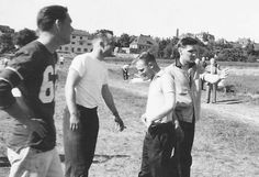 Elvis playing football during his Army years