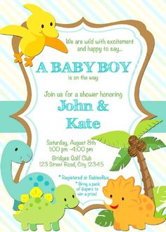 dinosaur baby shower invitations online – Invitation Ideas for 2020 Baby Shower Images, Baby Shower Cards, Baby Shower Themes, Baby Boy Shower, Shower Ideas, Dinosaur Invitations, Printable Baby Shower Invitations, Baby Invitations, Invitations Online