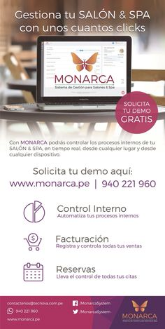 MONARCA - Sistema de Gestión para Salones y Spa. Solicita tu DEMO registrando tus datos aquí: www.solicitesudemo.monarca.pe