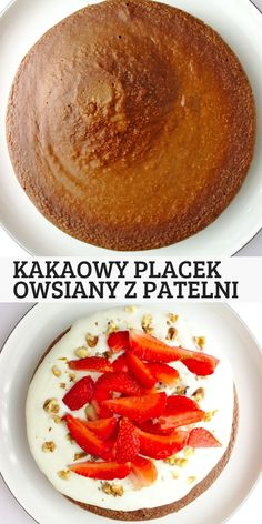 Kakaowy placek owsiany z patelni A simple and healthy fit breakfast or a sweet lunch. Pan-fried cocoa oat cake can Diet Recipes, Cooking Recipes, Healthy Recipes, Healthy Foods, Recipies, Food Porn, Yummy Food, Tasty, Healthy Deserts