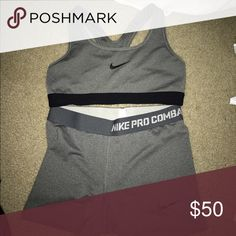 NIKE PRO SPANX AND BRA Both are grey! Both size Small! Only worn once! Nike Other