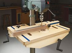, Upgrade your drill press with this handy add-on that features up-front adjustmen. , Upgrade your drill press with this handy add-on that features up-front adjustment handles.