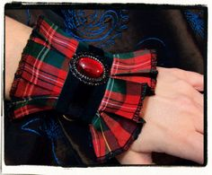 Items similar to Highland Holiday Victorian Wrist Cuff Take 2 on Etsy Textile Jewelry, Fabric Jewelry, Jewellery, Tartan Fashion, Diy Fashion, Antique Lace, Vintage Lace, Fabric Bracelets, Cuff Bracelets