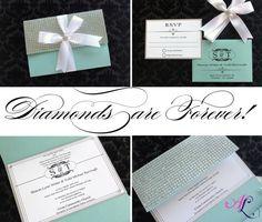Wedding Invitations Tiffany Blue Bling Silver by AlexandriaLindo, $12.00