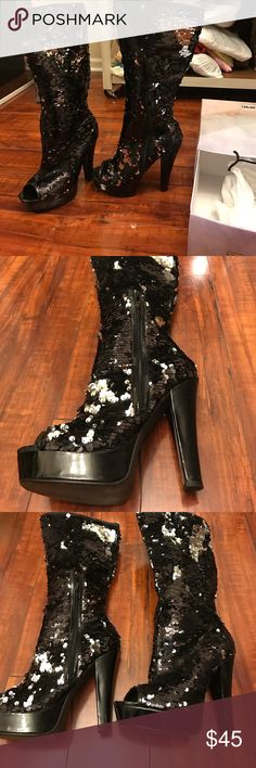 🏵 FABULOUS SEQUINED PEEP TOE BOOTS 🏵 Like new, SO hard for me to part with them but I literally do not go anywhere. They deserve a loving home ❤️ they fit like a 7 1/2 ten thirty one Shoes Heeled Boots