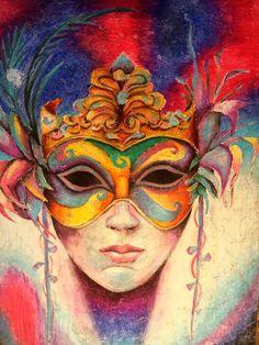 Study in oil pastels of Geraldine Arata's Glided Carnival Mask Pastel Artwork, Oil Pastel Paintings, Fantasy Paintings, Oil Pastels, Venice Mask, Louisiana Art, Mask Drawing, Carnival Masks, Free Graphics