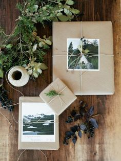 K- this reminded me that you can place black and white photos of you and Billy around the room or on tables. Would go well with your theme. Just a thought! Brown Paper Wrapping