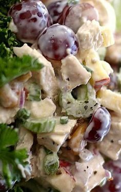 Autumn Garden Chicken Salad - The flavors and textures of sweet grapes, crunchy cashews, crispy apples and savory chicken make this a stand-out recipe for your next brunch or lunch.