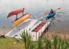 Kayak Launch Dock - Freestanding Launch Port System Canoe And Kayak, Kayak Fishing, Lake Kayak, Fishing 101, Kayak Boats, Canoe Trip, Saltwater Fishing, Kayaks, Bar Piscina