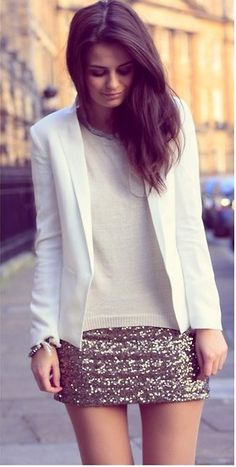 white blazer + sparkles