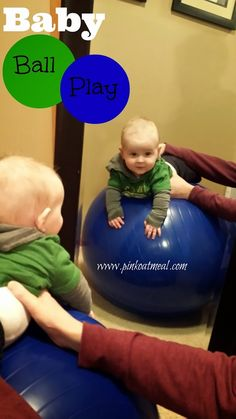 A fun way to use the exercise ball to play with baby.  Also great way to incorporate tummy time into the day!