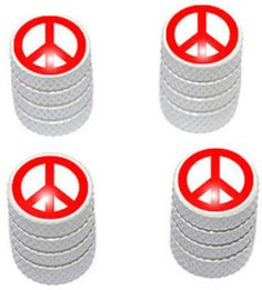 """Amazon.com : (4 Count) Cool and Custom """"Diamond Etching Peace Sign Top with Easy Grip Texture"""" Tire Wheel Rim Air Valve Stem Dust Cap Seal Made of Genuine Anodized Aluminum Metal {Marshmallow Porsche White and Red Colors - Hard Metal Internal Threads for Easy Application - Rust Proof - Fits For Most Cars, Trucks, SUV, RV, ATV, UTV, Motorcycle, Bicycles} : Sports & Outdoors"""