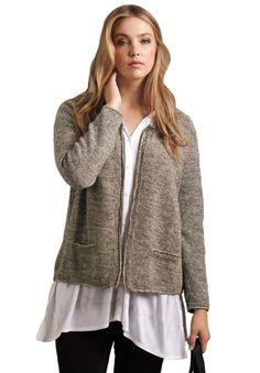 Plus Size Marled zip front cardigan