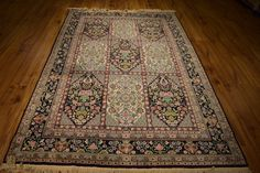 Persian Bakhtiari Ins[ired Silk Rugs in Bedrooms Handmade 5x8 ft Rugs for Sale
