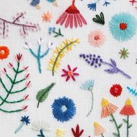Large Rainbow Flowers Circle on Cream Linen Hand Embroidered Art