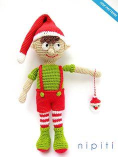 Crochet Christmas Elf Boy Pattern Amigurumi - Elf on the shelf