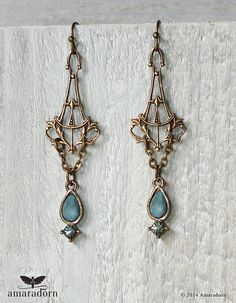 Elegant Art Nouveau Earrings Vintage Rhinestone by Amaradorn