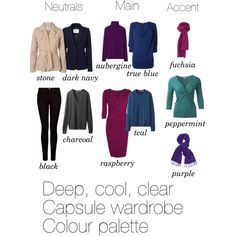 """""""Deep, cool and clear capsule colour palette"""" by lillyicity on Polyvore"""