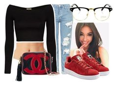 """""""Madison Beer Inspired"""" by retrovintagepizza ❤ liked on Polyvore featuring Topshop, adidas Originals and Chanel"""