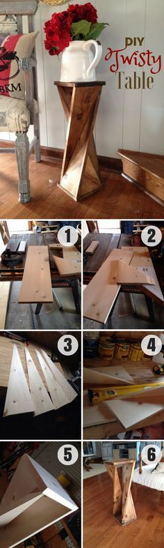 Ted's Woodworking Plans - Teds Wood Working - Check out how to make this easy DIY Twisty Table Industry Standard Design - Get A Lifetime Of Project Ideas Inspiration! Get A Lifetime Of Project Ideas & Inspiration! Step By Step Woodworking Plans Easy Woodworking Projects, Woodworking Projects Diy, Diy Wood Projects, Furniture Projects, Furniture Plans, Home Projects, Woodworking Plans, Diy Furniture, Wood Crafts
