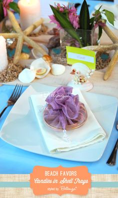 Candies in Shell Dishes // Beach Inspired Favors with Pretty Packaging Inspiration!