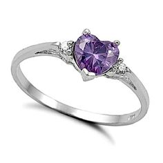 .925 Sterling Silver Ring size 12 CZ Heart cut Amethyst Midi Knuckle New 925 x23 #Unbranded #SolitairewithAccents