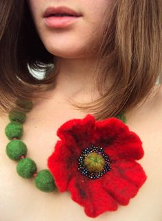Red Poppy Felted Flower Necklace - Felted Wool - Ukrainian Jewelry - Gift for Her - Mothers Day Gift - Handmade Jewelry - Statement Necklace