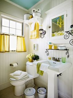 Grey white and yellow bathroom pictures of yellow bathrooms fresh blue cottage bathroom design with turquoise Bad Inspiration, Bathroom Inspiration, Do It Yourself Bathrooms, Bathroom Decor Pictures, Bathroom Ideas, Bathroom Designs, Bathroom Interior, Restroom Ideas, Bathroom Storage